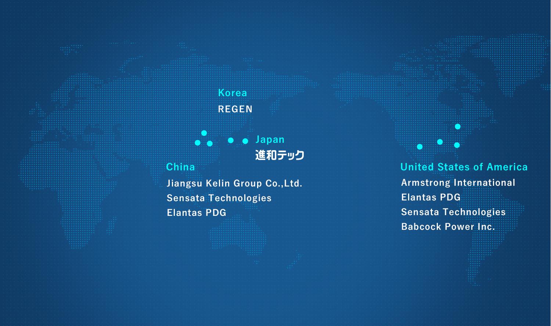 主な海外取引先 世界地図
